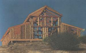 The basic timber-and-log  frame of the main house, now under construction.  Dorothy has promised to write us a future article on this project.