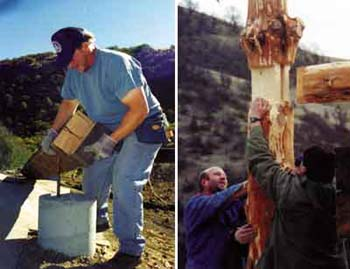 Left - Kirt places foundation beam. Right - Eric, Dorothy's son (left), Vadim, and Kirt guide the horizontal beam with tenon into its mortise on the upright log.