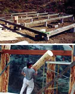 Top - Kirt works on foundation grid. Bottom - Kirt hefts the ridgepole supports onto the scaffolding.