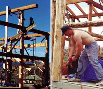 Left - Kirt and Vadim placing the ridgepole. Right - Kirt predrills log. He will toenail it to the deck with 12-inch polebarn spikes.