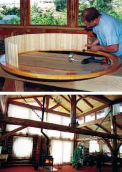 Top - Kirt builds the round window for living room. Bottom - Open living room with curtains closed to diffuse bright sunlight