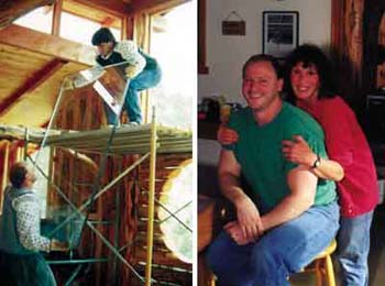 Left - Vadim and Kirt, donning protective sleeves, handle heavy double-paned picture window glass. Right - Kirt and Dorothy