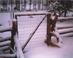 Swinging gate attached to an upright log on the right side of the photograph