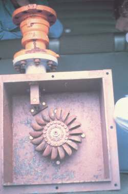 Even seasonal streams will supply power in the winter from units like this pelton wheel.