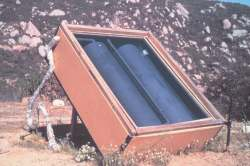 This design of solar water heater exposes the tanks directly to the sun in an insulated box.