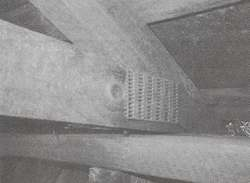 Figure 2. This photo of a connector in place shows how its multiple teeth firmly grip both pieces of the truss frame.