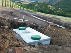 Septic tank and leach field for ETA septic system