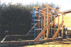 Basic frame with temporary braces and the rafters