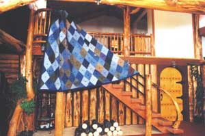 The diamond-patteren Levi quilt is attractive in any setting.