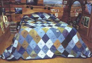 Over-sized Levi quilt is the 'centerpiece' in this small 9' x 16' cabin I call the 'honeymoon suite,' where I lived while I built my house.