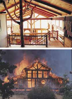 Top - King-post 'tree' in the loft fashioned from curved logs. Bottom - The first main house burns to the ground, June 29, 1995.
