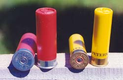 Be careful to NEVER mix 12 gauge (left) and 20 gauge shells (right). A 20 gauge shell inserted into a 12 gauge shotgun can lead to a disastrous blow-up.