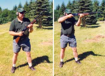 High ready position shown on the left is always the safest way to carry a shotgun with ammo in the chamber.  Shooter can see where the gun is pointed at all times. It is also extremely fast to mount and fire (right) when you do need to shoot instantly. Marty Hayes demonstrates with Winchester Model 1400 semiautomatic.