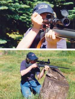 Top - Always keep the rifle to the shoulder as you operate its bolt, lever, or slide mechanism for fast follow-up shots. Bottom - 	Whenever possible, brace the rifle before the shot. Here, Gila takes advantage of a tree stump.