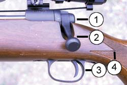 The first port-side bolt handle endeared the 110 to lefties. However, the 110's esthetic features did not appeal to traditional gun buffs. Note truncated bolt configuration (1), non-streamlined bolt handle (2), stamped alloy trigger guard (3), and machine-cut checkering (4), as well as pedestrian finish on both wood and metal.