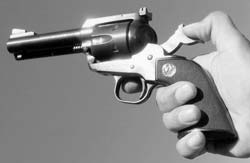Thumb must cock the hammer for every shot with a single-action revolver like this Ruger Blackhawk