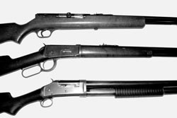 In days of old...When author's dad 'moved to the country' in 1945, his household gun battery included a .22 rifle (Stevens Model 87) for his young daughter (top), a Winchester '94 deer rifle (center), and the 12-gauge Winchester '97 pump shotgun (bottom).