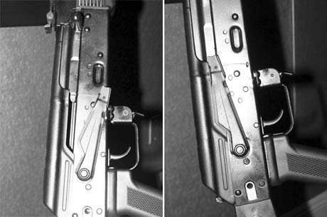 "Left: This is where the huge fire control lever on an AK sits for ""off safe"" on this semiautomatic version, and ""semiautomatic"" on the selective fire version... Right: ...and this is its position when ""on safe."" The full auto position on a true AK assault rifle is in between. Rifle shown here is from Arsenal, Inc."