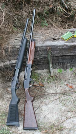 "Author thinks the 20-gauge semiautomatic is a compellingly practical shotgun. Left, the reasonably priced Remington Model 1100 Special Field with short ""youth stock;"" right, the more elegant and commensurately more expensive Benelli Ultra Light."