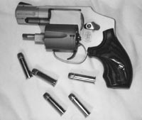 Trying to reload a revolver with loose ammunition in extreme cold weather is a daunting task; you at least want speedloaders. This is Smith & Wesson's AirLite Ti Model 342, a 5-shot .38 Special weighing less than 11 ounces