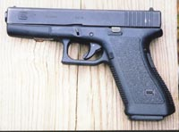 In use by counter-terrorist groups world wide, the Glock 17 holds 18 rounds of 9mm in pre-ban magazines. Author strongly recommends high speed hollow point ammo if 9mm is chosen.