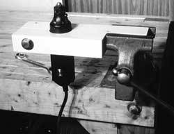 The vise mount in use (horizontally)