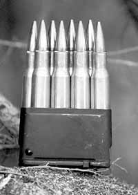 Eight-round clip with .30-06 ammunition for the M1's en bloc magazine
