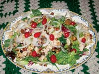 Roasted chicken and herbed potato salad with raspberry vinaigrette