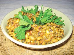 A bowl of savory baked spiced black-eyed peas