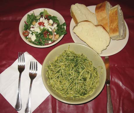 Whole wheat pasta with chili pepper and cilantro pesto
