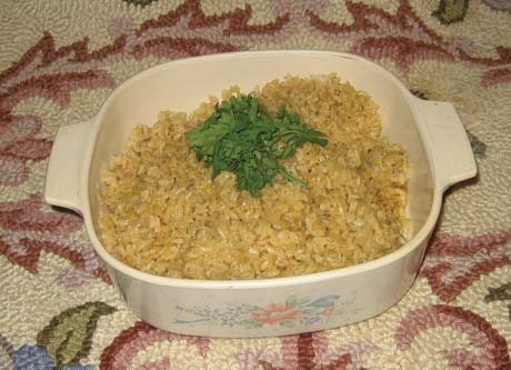 Baked brown rice