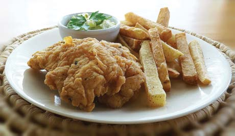 nglish-style batter-fried fish and crispy steak fries