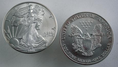 A Silver American Eagle coin. This is considered premium bullion and will have a higher premium than generic bullion.
