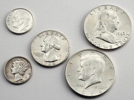 A sampling of junk silver coins, also called 90% coins. These are favored by many people because they can be spent or bartered in small amounts.