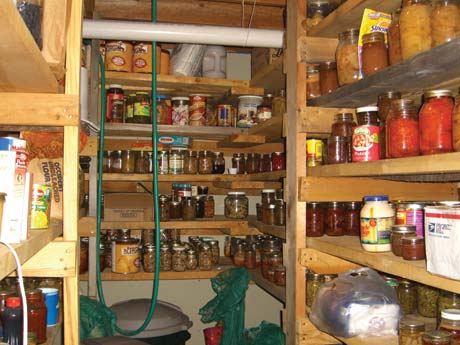 My big pantry is built out of rough sawn 2x6 lumber. Note garbage cans under bottom shelf for bags of dry foods.