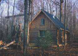 This hunting cabin was the first log building project of Bill Spaulding and friends Matt and Andy. All now married, the guys bring home the bacon every year (hopefully).