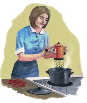 woman grinding pepper