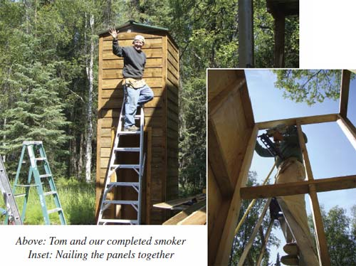 Tom and our completed smoker Inset: Nailing the panels together