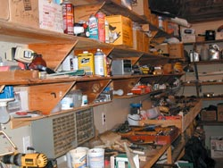 Well supported shelves hold many things, all visible and available, as seen here in a workshop. These are utility shelves made with scrap lumber.