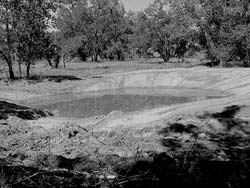 Pond constructed in bottomland that intercepted the aquifer so water flows in from underground