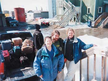 Public Health Nurses (from left to right) Mary Kay McCarty, the author, and Rachelle Hill return to Nome, Alaska, after a week in the local villages.