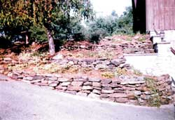 Smaller stones are often used to create walls either using mortar or by dry-stacking as shown here.