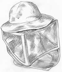 The veil and helmet is another basic piece of beekeeping gear.