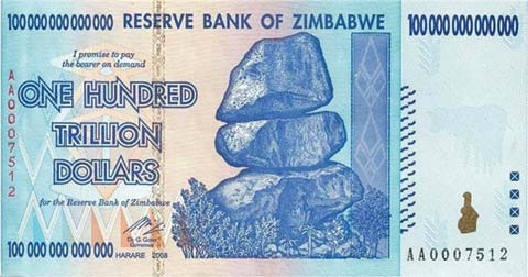 One hundred trillion dollar Zimbabwe note