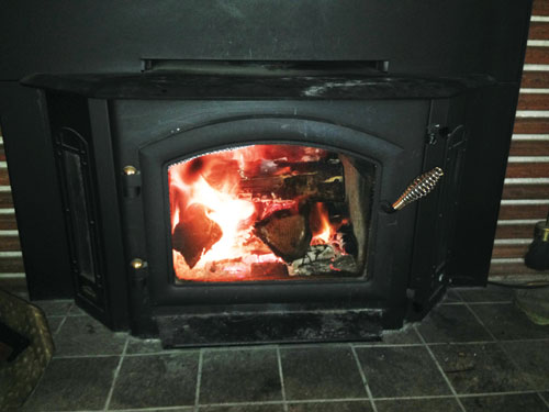 Here's our first fire of the season. This insert can kick out the heat!
