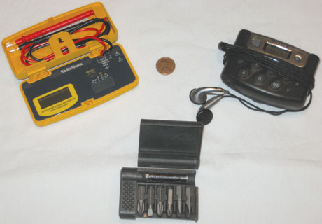 Other useful pocket-sized equipment could include test equipment, miniature AM/FM/weather band radio, or fold-up screwdriver set.