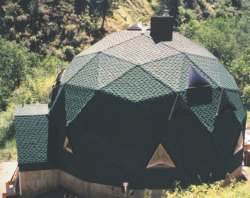 Off-grid dome home using creek water