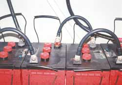 6-volt 350-amp-hour batteries with 'Flag' terminals allow bolt-on type cable interconnects.<