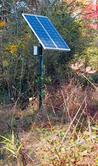 Pole-mounted solar array during initial setup