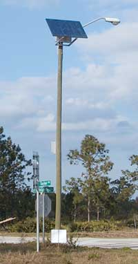Figure 1. Pole-mounted street light showing a front view of the solar light